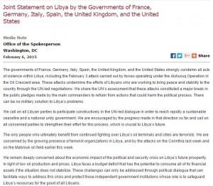 المشترك بشأن ليبيا من قبل حكومات فرنسا، ألمانيا وايطاليا واسبانيا والمملكة المتحدة، والولايات المتحدة