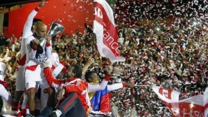 River Plate's Ledesma kisses the trophy after the team clinched the Argentine first division championship in Buenos Aires