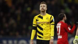 Borussia Dortmund's Reus reacts during their Bundesliga first division soccer match against Bayer Leverkusen in Leverkusen