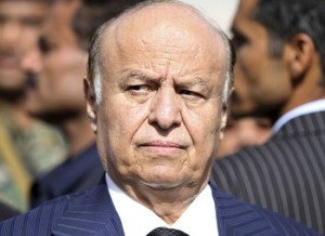 Yemeni President Abed Rabbo Mansour Hadi looks on during a funeral service for Major General Salem Ali Qatan, the commander of military forces in the south of Yemen