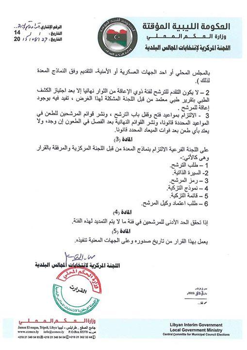 فتح باب قبول ملفات المرشحين لانتخابات المجلس البلدي يفرن 2